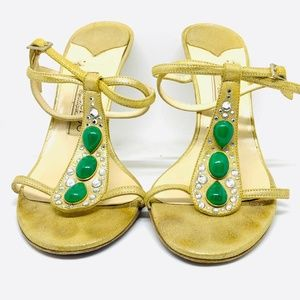 JIMMY CHOO BEA GOLD SUEDED LEATHER CRYSTAL GREEN S